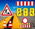 Sinais de obras rodoviárias