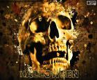 Um crânio de Halloween aterrorizante