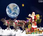 O trenó do Papai Noel em pé numa nuvem, observando a terra e a lua