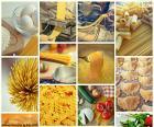 Colagem de massas alimentícias
