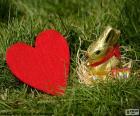 Coração e coelhinho da Páscoa