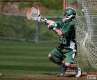 Um goleiro de lacrosse