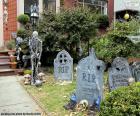 Jardim decorado para o Halloween