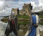 Dois cavaleiros lutando em batalha