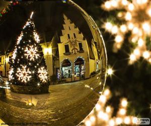 Puzle Reflexo de árvore de Natal