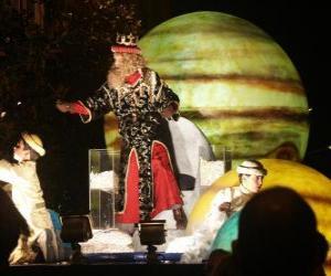Puzle Rei Gaspar no desfile atirando doces