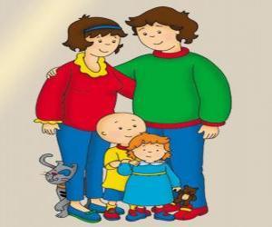 Puzle Retrato de Família Caillou, Rosie sua irmãzinha, Boris seu pai, sua mãe Doris e Gilbert o gato