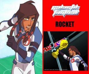 Puzle Rocket é o capitão da equipa de futebol Galáctico Snow-Kids com o número 5