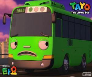 Puzle ROGI um ônibus verde engraçado e travesso
