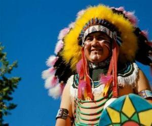 Puzle Rosto do chefe índio com tintas da guerra e as plumas na cabeça