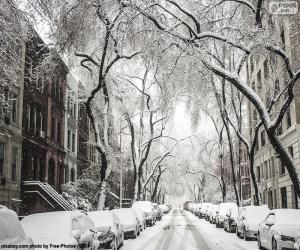 Puzle Rua coberta de neve