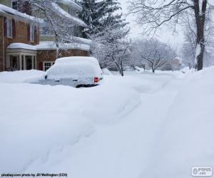 Puzle Rua completamente coberto de neve