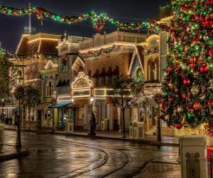 Puzle Rua decorada o Natal