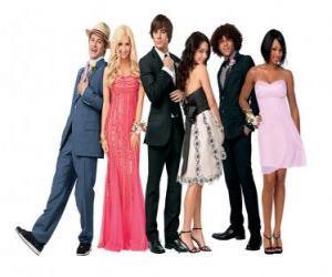 Puzle Ryan Evans (Lucas Grabeel), Sharpay Evans (Ashley Tisdale), Troy Bolton (Zac Efron), Gabriella Montez (Vanessa Hudgens), Chad (Corbin Bleu), Taylor (Monique Coleman) muito elegante