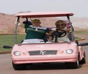 Puzle Ryan Evans (Lucas Grabeel), Sharpay Evans (Ashley Tisdale) em carro de golfe