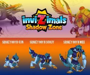 Puzle Sabretooth Cub, Sabretooth Scout, Sabretooth Max. Invizimals A nova dimensão. O guardião do parque que sonha em se tornar um super-herói