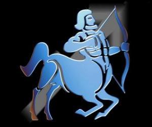 Puzle Sagitário. O centauro, o arqueiro. Nono signo do zodíaco. Nome em latim é Sagittarius