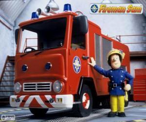 Puzle Sam ao lado de Júpiter, o carro de bombeiros
