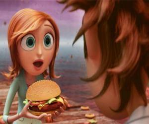 Puzle Sam Flint surpreendido ensina um hambúrguer