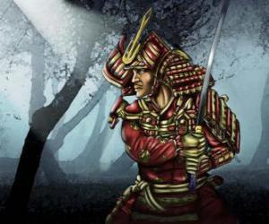 Puzle Samurai com vestido tradicional