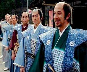 Puzle Samurai com vestido tradicional, calças largas e kimono