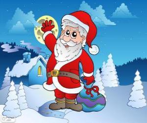 Puzle Santa Claus em uma paisagem de neve