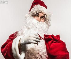 Puzle Santa Claus feliz com os presentes de Natal