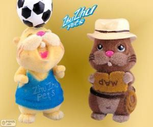 Puzle Scoodles com o chapéu eo cinto com outro hamster de Zhu Zhu Pets