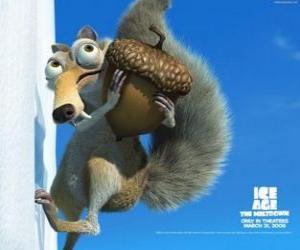 Puzle Scrat, o esquilo saber-toothed obcecado com as bolotas