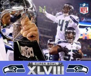 Puzle Seattle Seahawks, campeões Super Bowl 2014