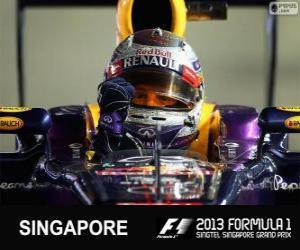 Puzle Sebastian Vettel comemora sua vitória no Grand Prix de Cingapura 2013
