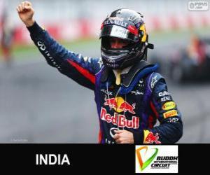 Puzle Sebastian Vettel comemora sua vitória no Grande Prêmio da Índia de 2013