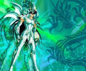 Puzle Shiryu de Dragão, um dos cinco heróis de Saint Seiya. O cavaleiro de Bronze da constelação da Dragão