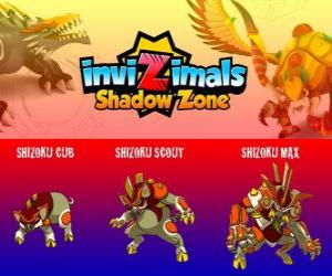 Puzle Shizoku Cub, Shizoku Scout, Shizoku Max. Invizimals A nova dimensão. Um porco samurai que vem do Japão feudal, um guerreiro de armadura