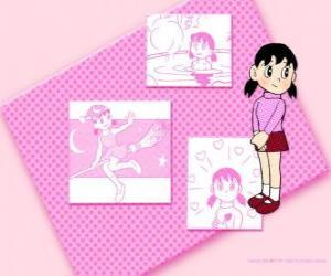 Puzle Shizuka Minamoto é a única menina no grupo