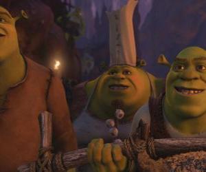 Puzle Shrek, juntamente com outros ogres.