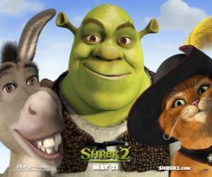 Puzle Shrek, o ogro com seus amigos Burro e Gato de Botas