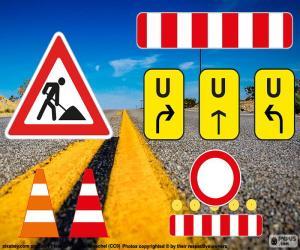Puzle Sinais de obras rodoviárias