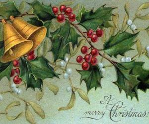 Puzle Sinos de Natal decorados com folhas de azevinho
