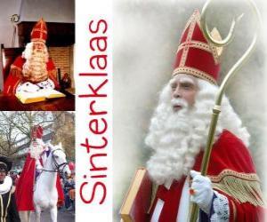 Puzle Sinterklaas. São Nicolau traz presentes para as crianças nos Países Baixos, Bélgica e outros países da Europa Central