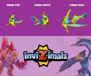 Puzle Siren em três fases Siren Pup, Siren Scott e Siren Max, Invizimals