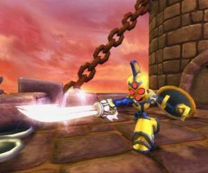 Puzle Skylander Chop Chop, um guerreiro durão com espada e escudo. Skylanders Mortos vivos