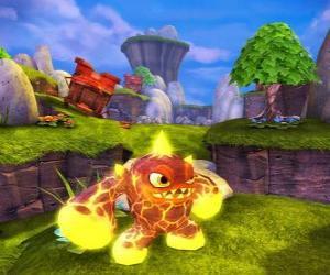 Puzle Skylander Eruptor, uma criatura atira bolas de fogo e chamas. Skylanders Fogo