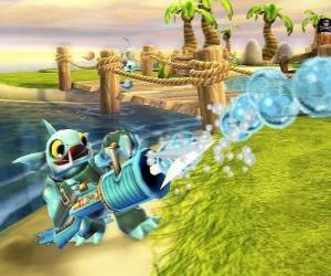 Puzle Skylander Gill Grunt, uma criatura que nunca deixa escapar sua presa. Skylanders Água