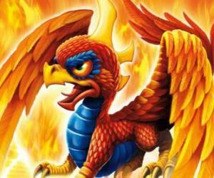 Puzle Skylander Sunburn, um dragão alado. Skylanders Fogo