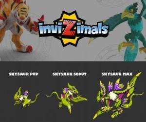 Puzle Skysaur em três fases Skysaur Pup, Skysaur Scott e Skysaur Max, Invizimals