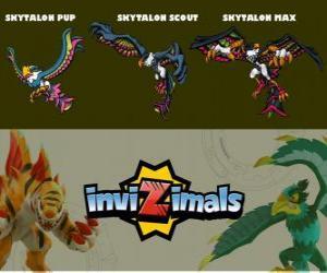 Puzle Skytalon em três fases Skytalon Pup, Skytalon Scott e Skytalon Max, Invizimals