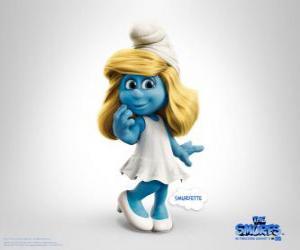 Puzle Smurfette, o seu interesse é cuidar e amar todos os Smurf - Os Smurfs, filme -