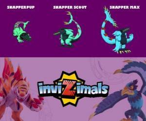 Puzle Snapper em três fases Snapper Pup, Snapper Scott e Snapper Max, Invizimals