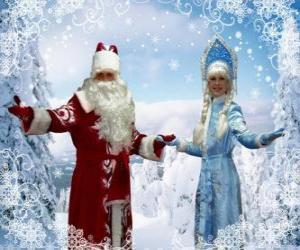 Puzle Snegurochka ou a Moça de Neve e Dyet Maros ou Avô Gelo, caracteres russos tradicionais do Natal